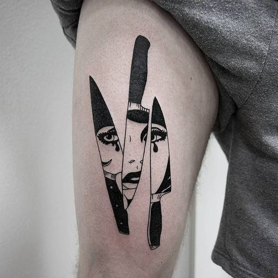 Negative space triple knife with a reflection of a woman face tattoo