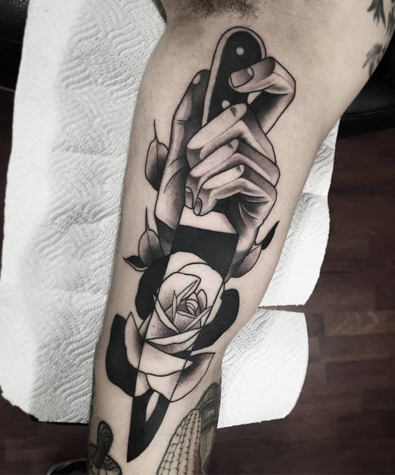Neo traditional knife and rose tattoo by john mendoza