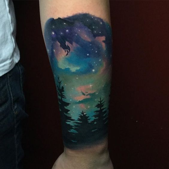 Night sky over the woods tattoo