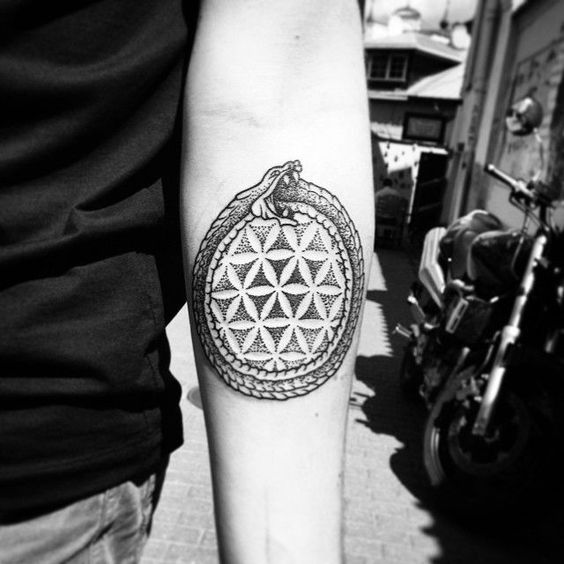 Ouroboros and sacred geometry ornament