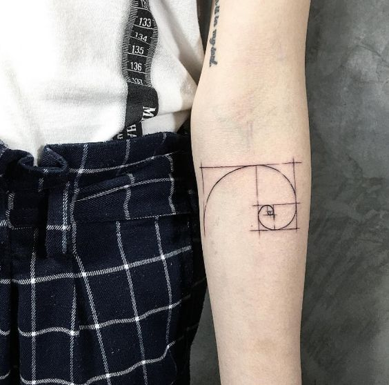 Small golden ratio tattoo on the inner forearm