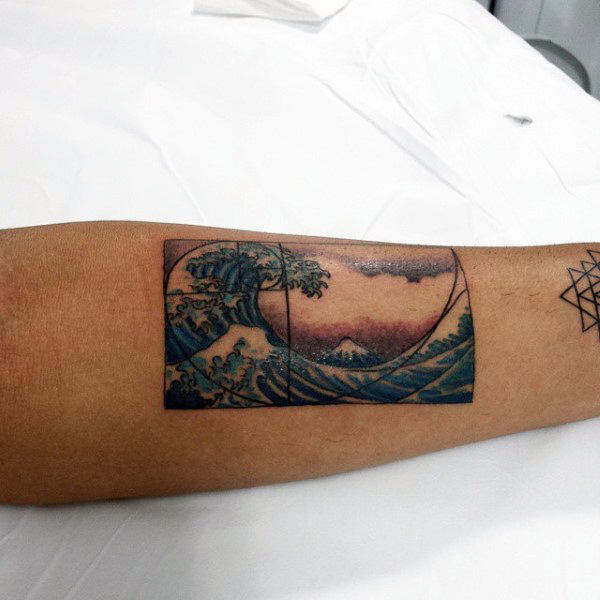 The great wave of kanagawa and golden ratio tattoo