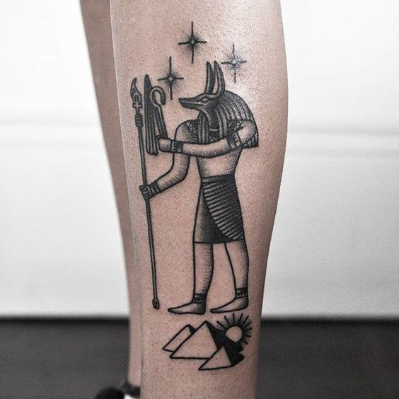 This egyptian style anubis on the calf