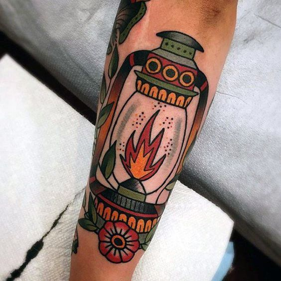 Traditional lantern forearm tattoo