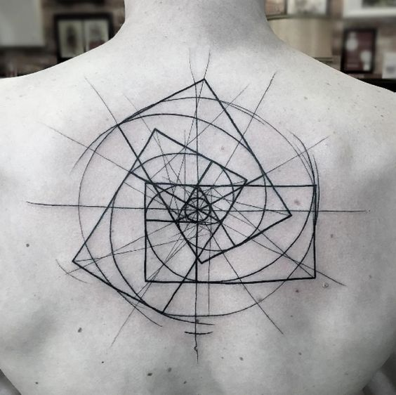 Triple golden ratio tattoo inked on the upper back