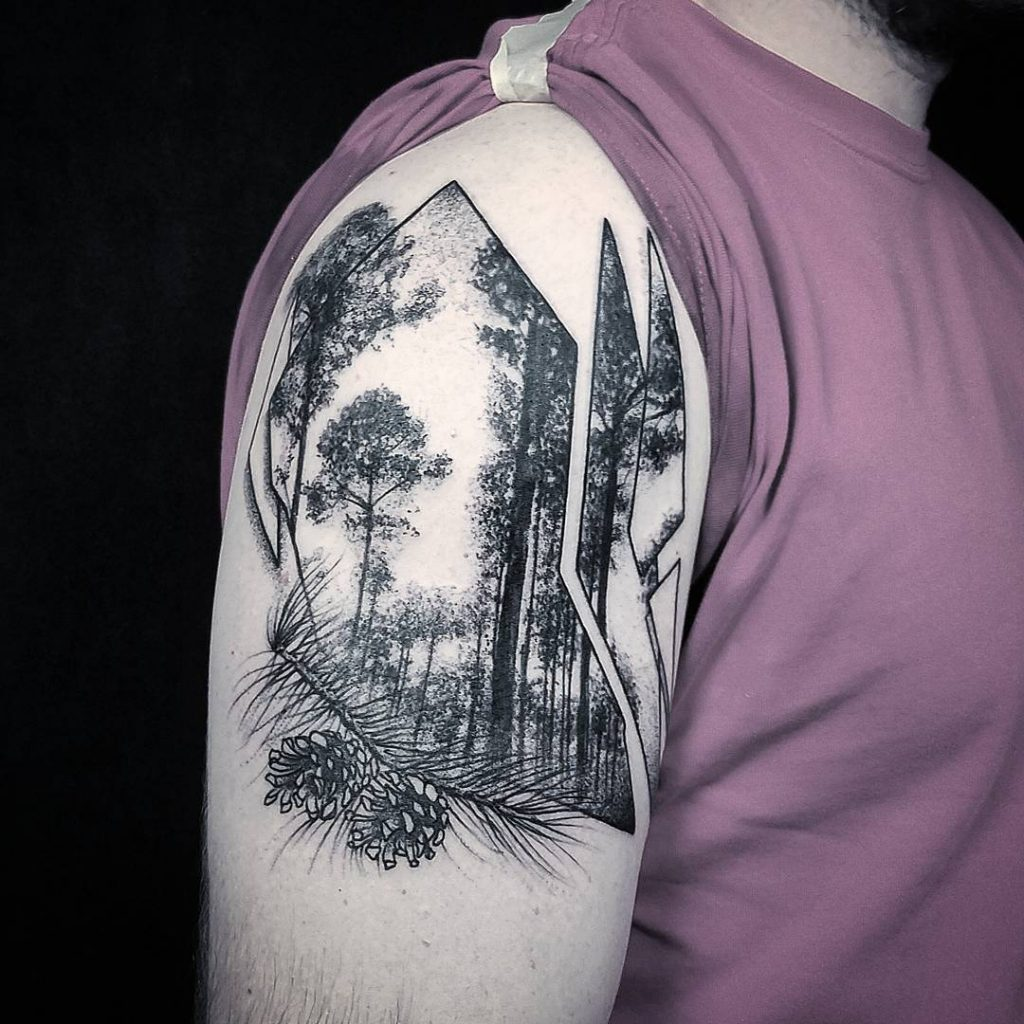 Abstract black forest tattoo