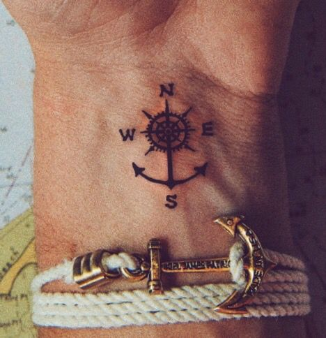 Anchor compass tattoo on the wrist
