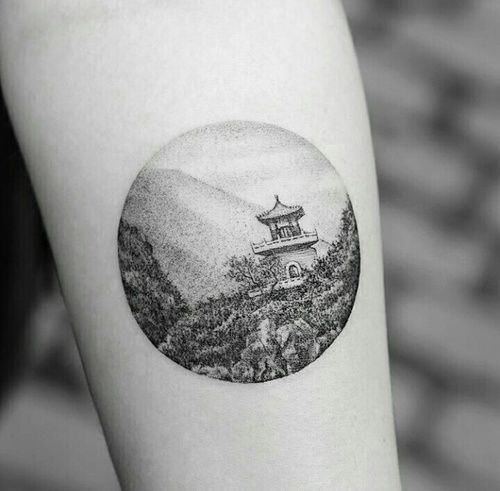 Asian scenery tattoo