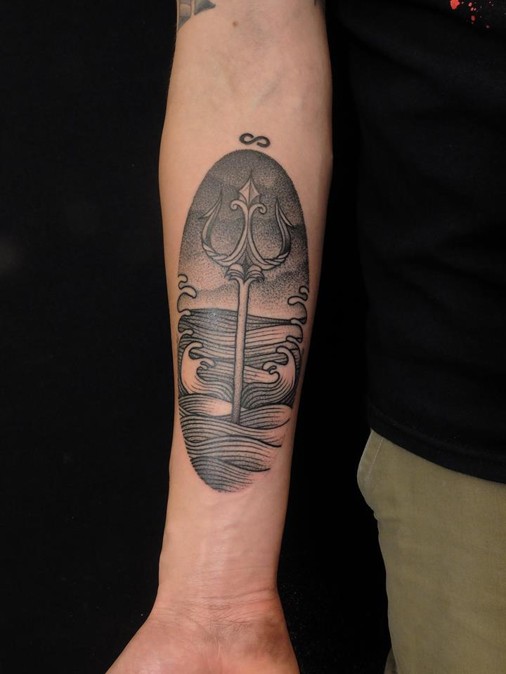 Black trident in the sea tattoo by jan mraz