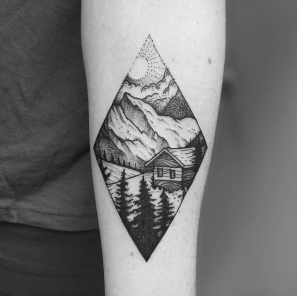Cabin in the middle of the woods tattoo