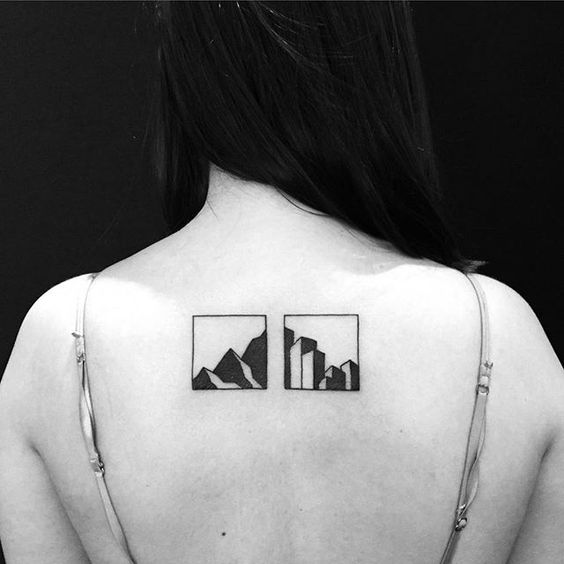 City vs mountains tattoo