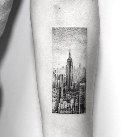 City jungle landscape tattoo