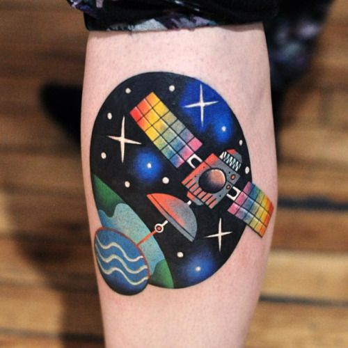 Colorful satellite on the calf
