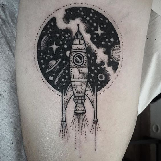 Cosmic background and spaceship tattoo