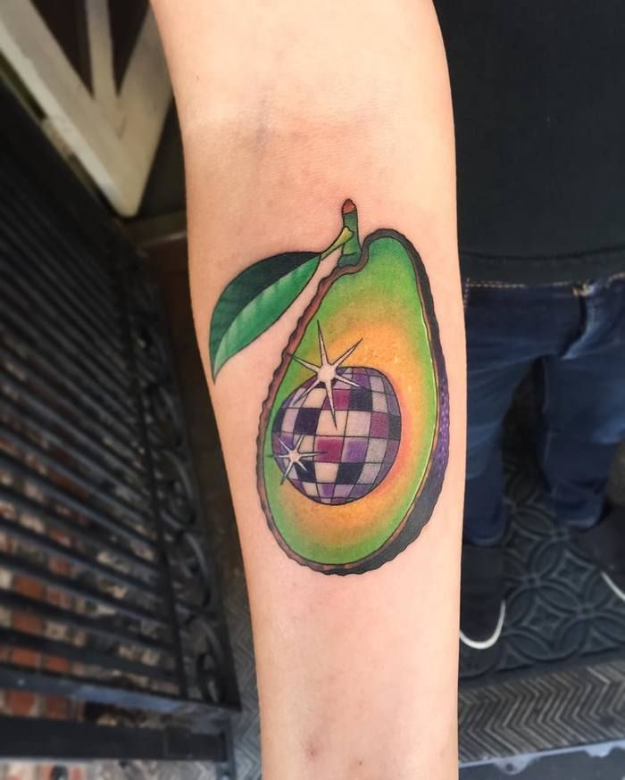 Disco ball avocado tattoo