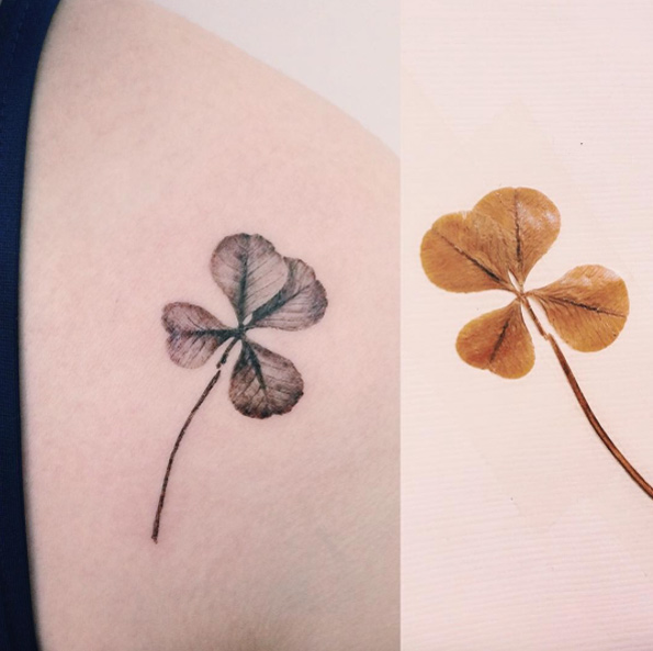 Dried up hyper realistic clover tattoo