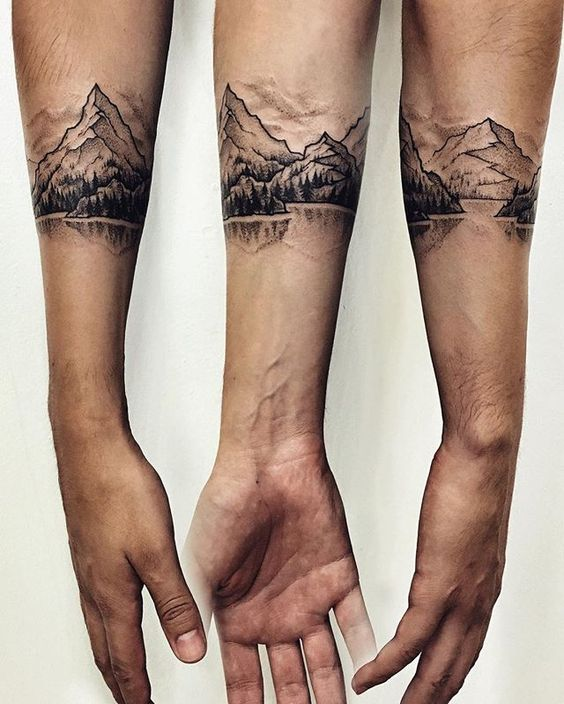 Italian mountainous landscape on the forearm