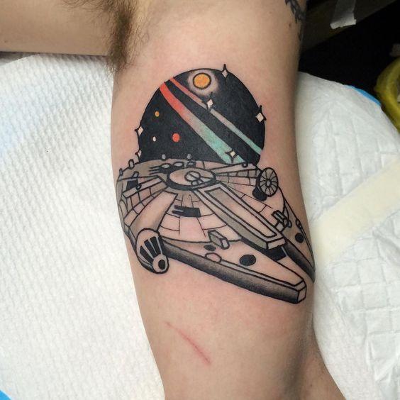 Millenium falcon starship tattoo