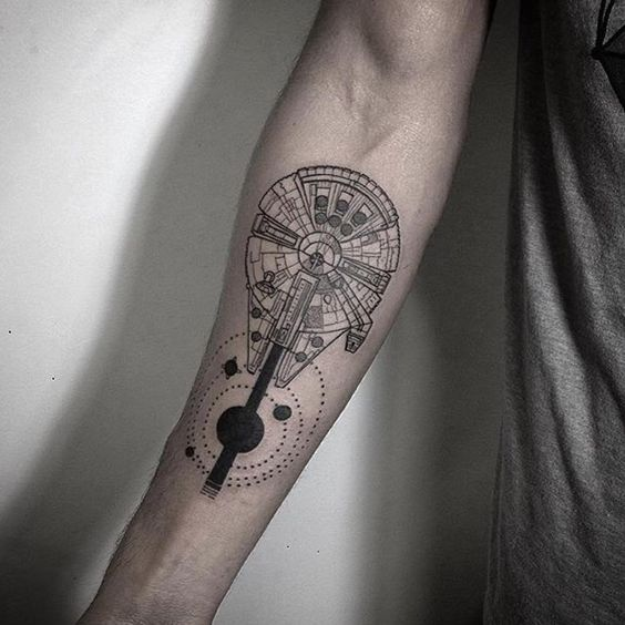 Millenium falcon on the right forearm