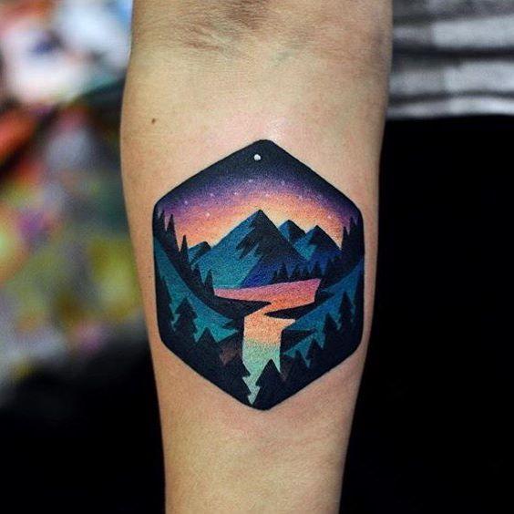 Modern landscape tattoo