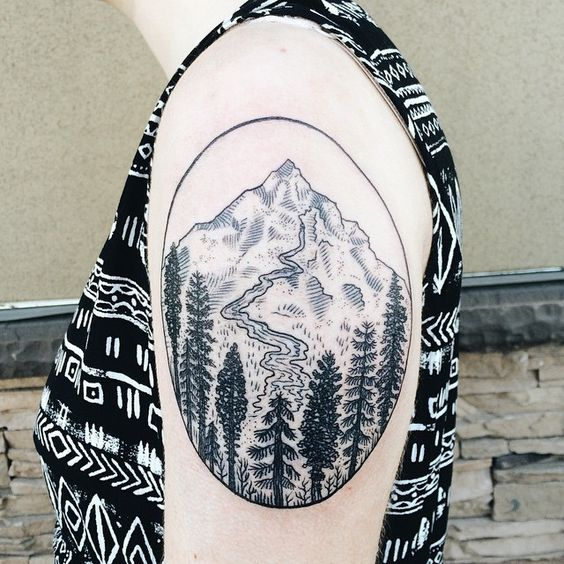 Mountain stream tattoo