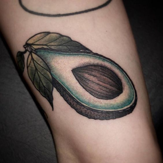 Neo traditional avocado tattoo