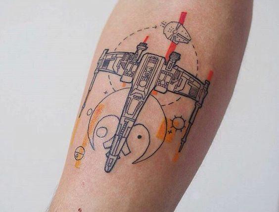 Sci fi spaceship tattoo