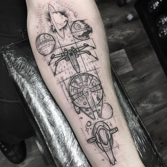 Starships on the forearm