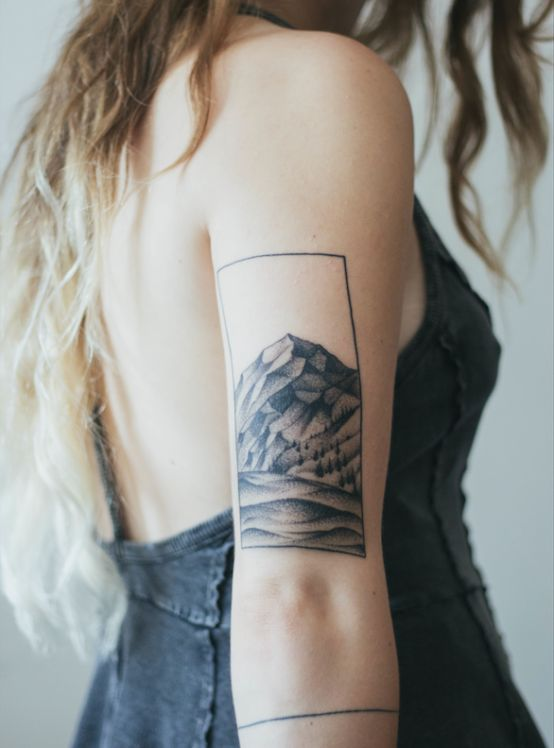 Subtle rectangle shaped mountains tattoo