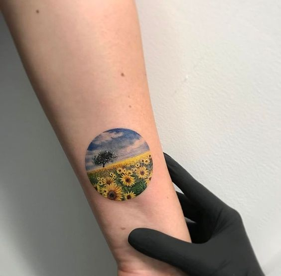 Sunflower field landscape tattoo
