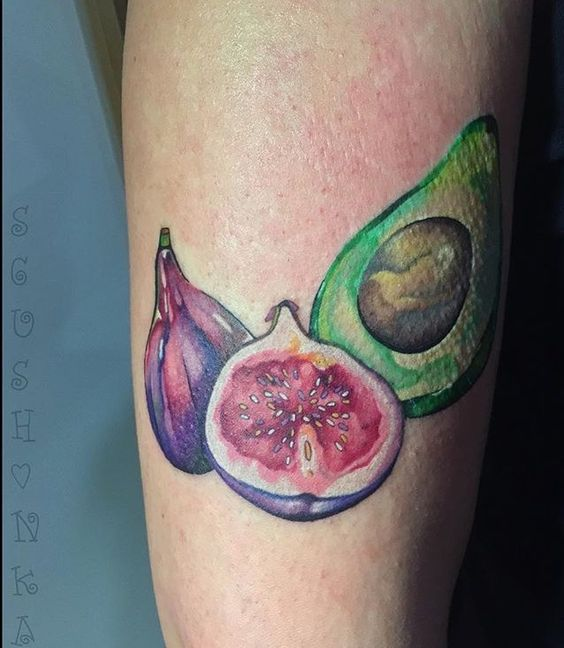 Watercolor tattoo of fig and avocado