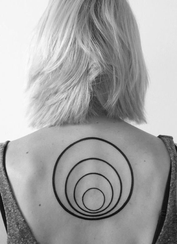 Well rings tattoo on the back