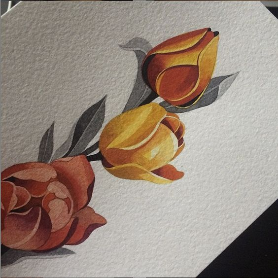 Beautiful orange tulip tattoo inspiration