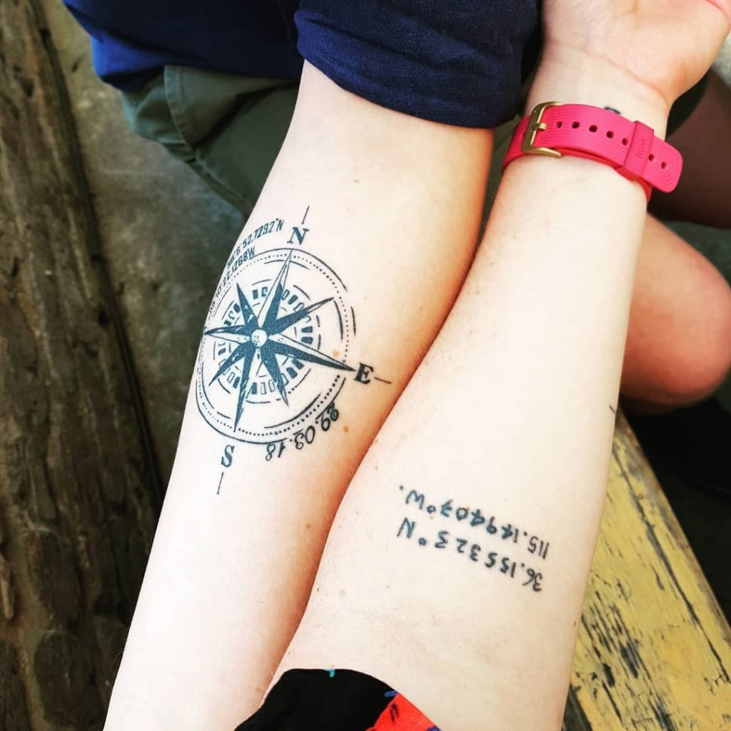Compass and coordinates idea for best friends