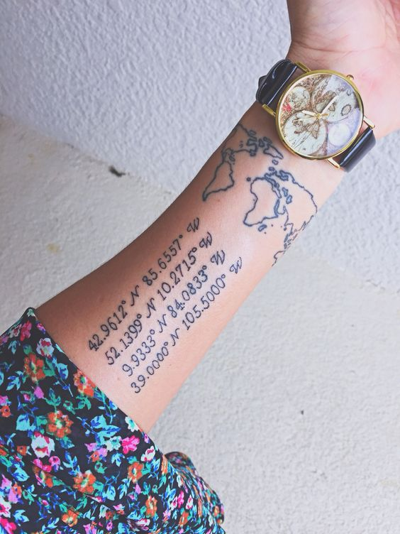 Coordinates and world map tattoo