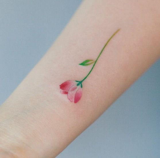 Delicate pink tulip tattoo