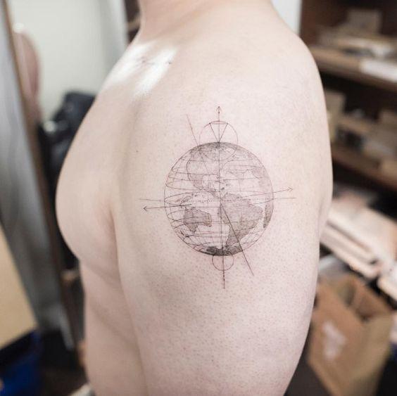 Globe tattoo