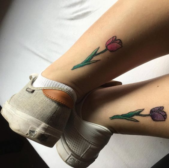 Matching tulip tattoos for best friends