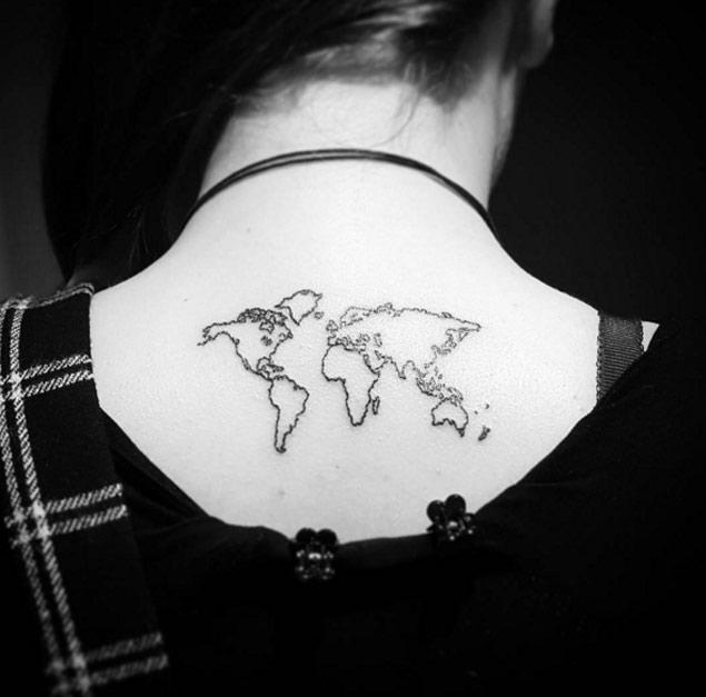 Minimalist map tattoo on the upper back
