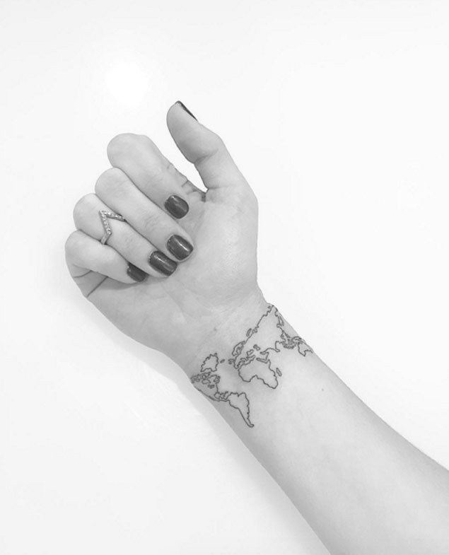 Small World Map Tattoo: World Map Tattoo Ideas For Those Who Love To Travel