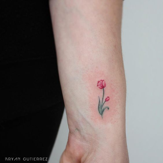 Super cute red tulip on the wrist