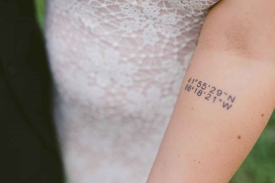 Tattoo of coordinates of wedding location