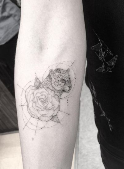 Leopard and rose tattoo by dr.woo