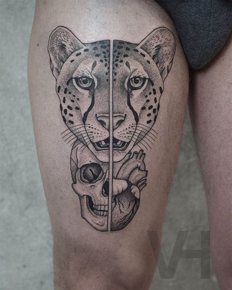 Leopard, skull, and heart tattoo by valentin hirsch