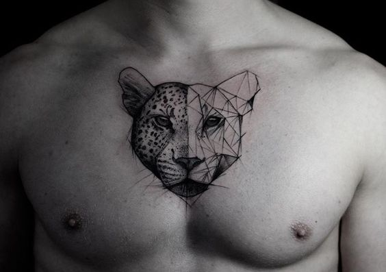 Leopard tattoo on the chest by kamil mokot