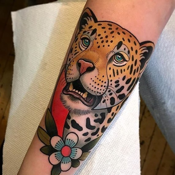 Neo traditional leopard tattoo by dave wah