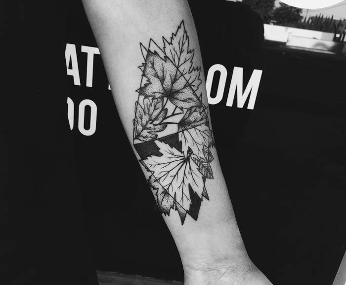 Oak and maple leaves tattoo