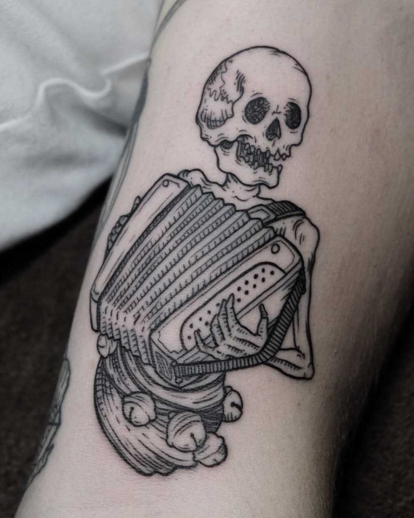 Accordion player skeleton