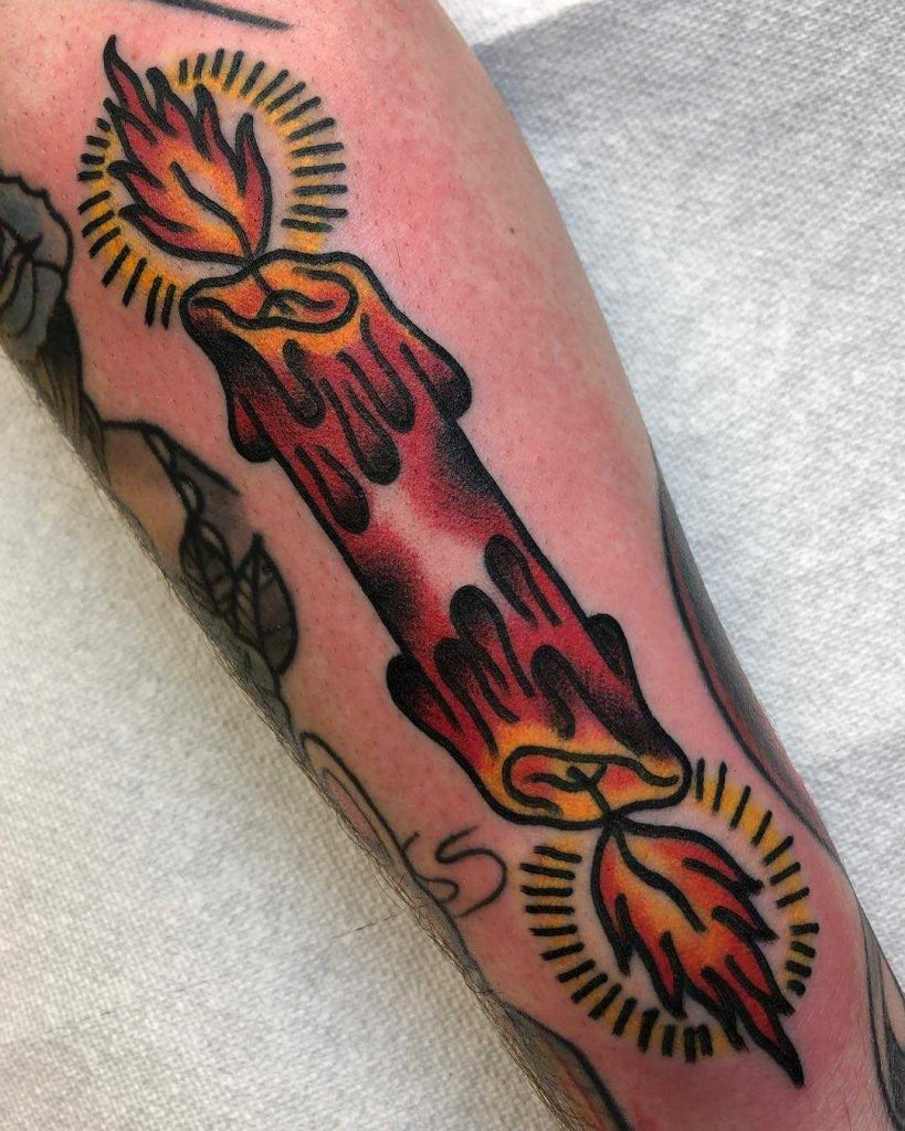 Both ends burning candle tattoo by Aaron Francione