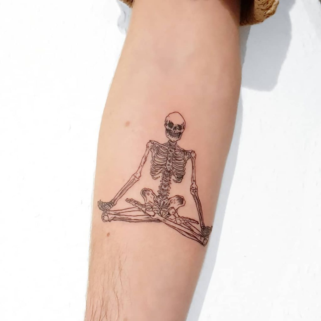 Buddhist skeleton tattoo
